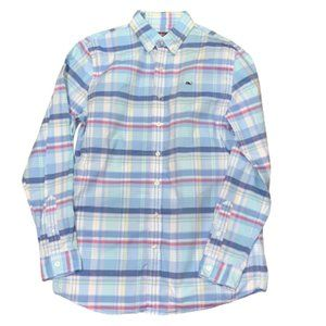 VINEYARD VINES Boys Sz 18 XL Plaid Whale Shirt